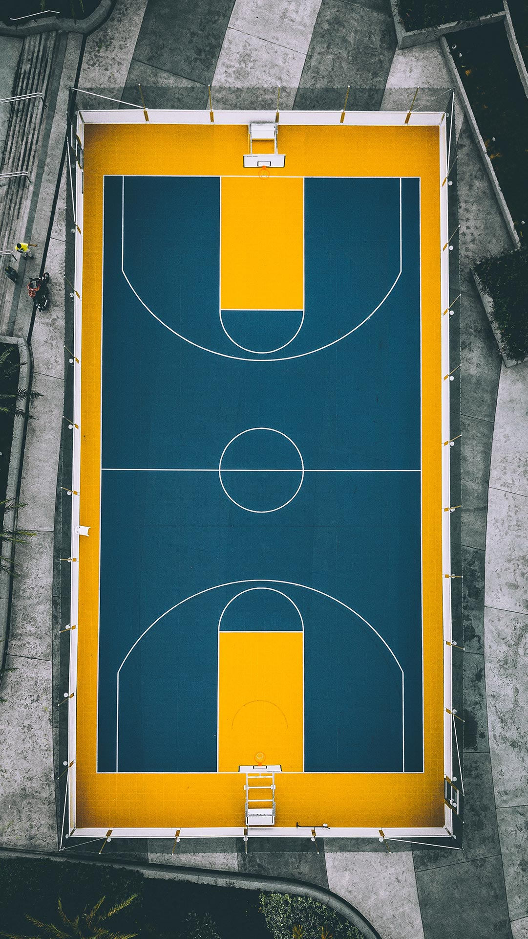 aerial view of park basketball court