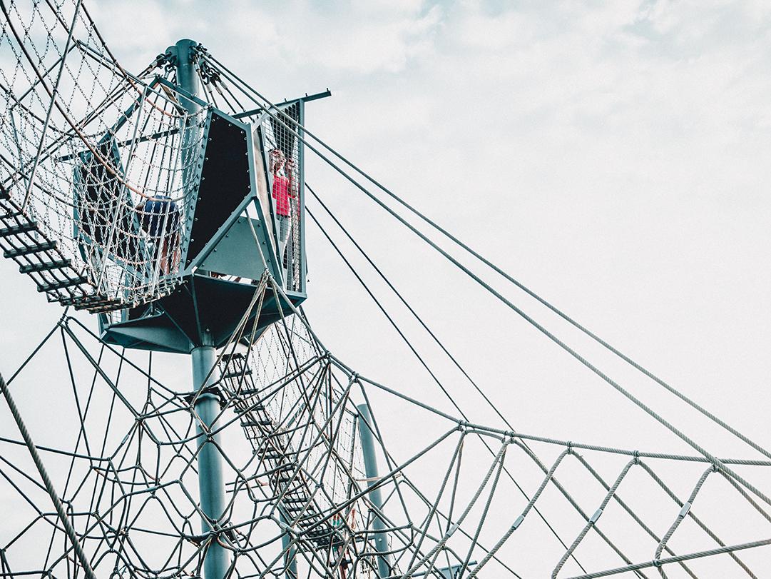 child in hideaway suspension bridge